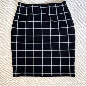 Black Windowpane Pencil Skirt